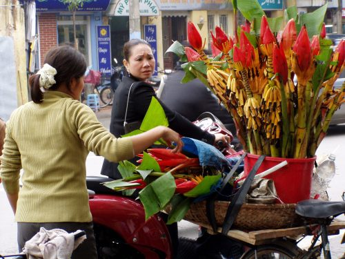 Banana flowers are being sold on a street in Hanoi. Photo: Maarit Suokas-Alanko