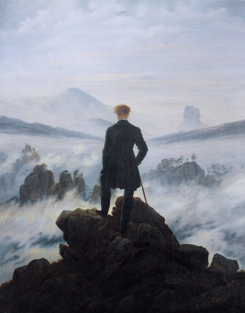 Wanderer Above the Mist. Caspar David Friedrich, 1818. Hamburger Kunsthalle.